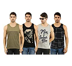 Buy THE ARCHER Men's Cotton Printed Sleeveless T-Shirt Combo (Grey, Black, Olive, Navy, Large) - Pack of 4 at Amazon.in